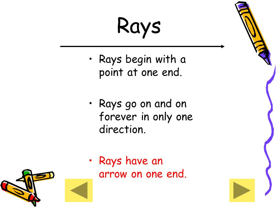Rays Rays begin with a point at one end.