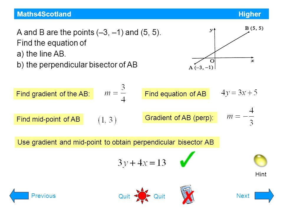 A and B are the points (–3, –1) and (5, 5). Find the equation of