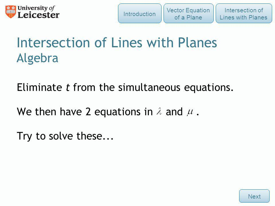 Intersection of Lines with Planes Algebra