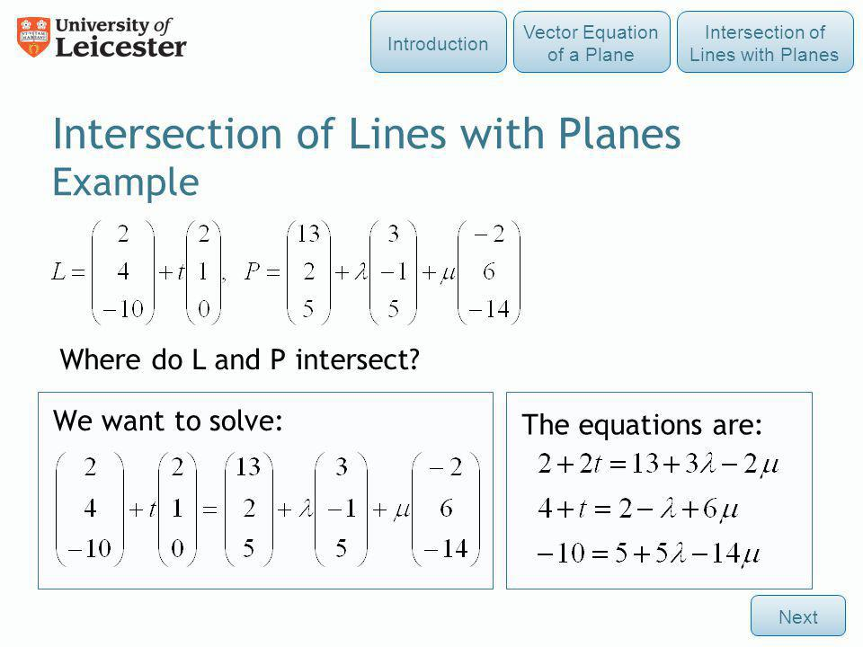 Intersection of Lines with Planes Example
