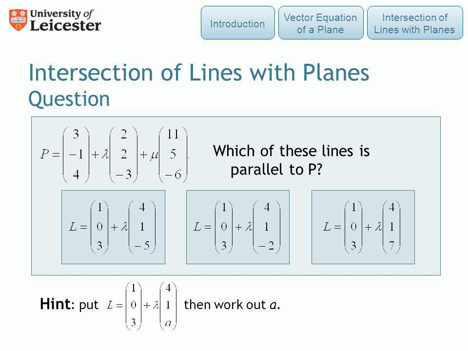 Intersection of Lines with Planes Question