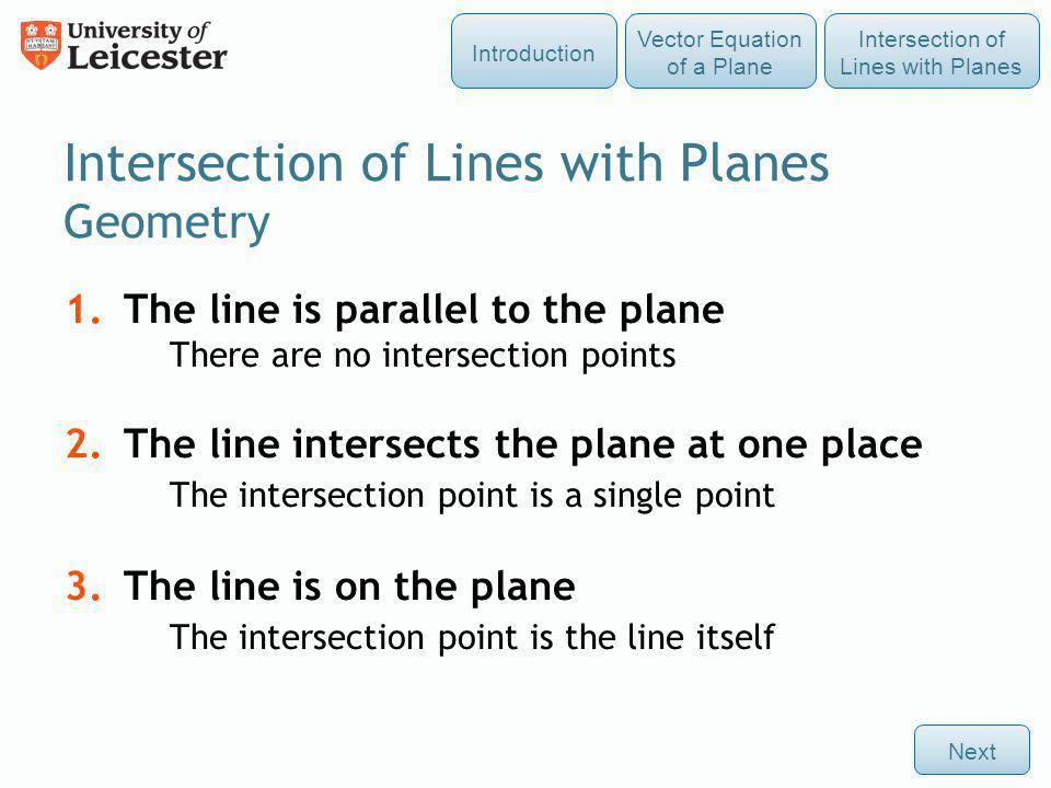Intersection of Lines with Planes Geometry