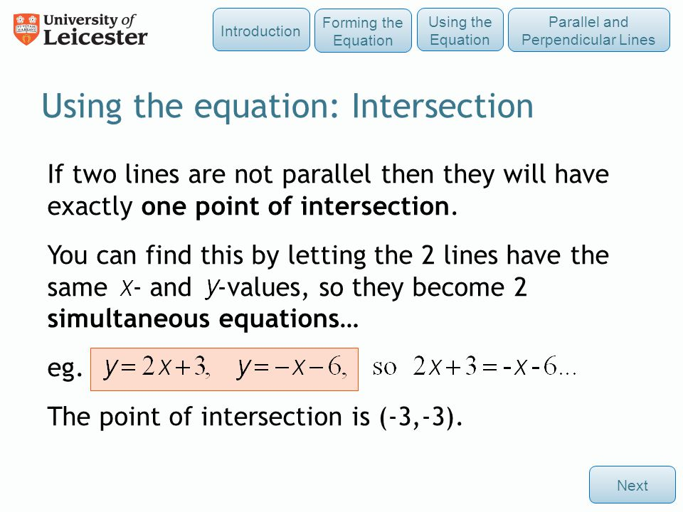 Using the equation: Intersection