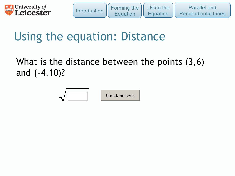 Using the equation: Distance