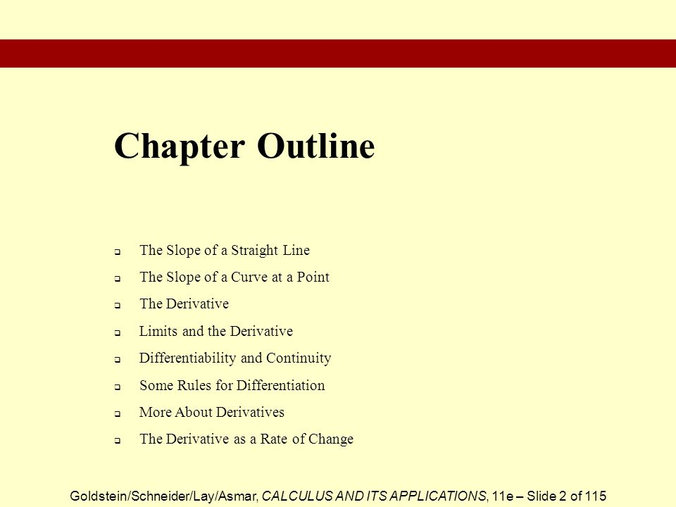 Chapter Outline The Slope of a Straight Line