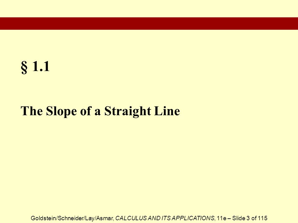 § 1.1 The Slope of a Straight Line