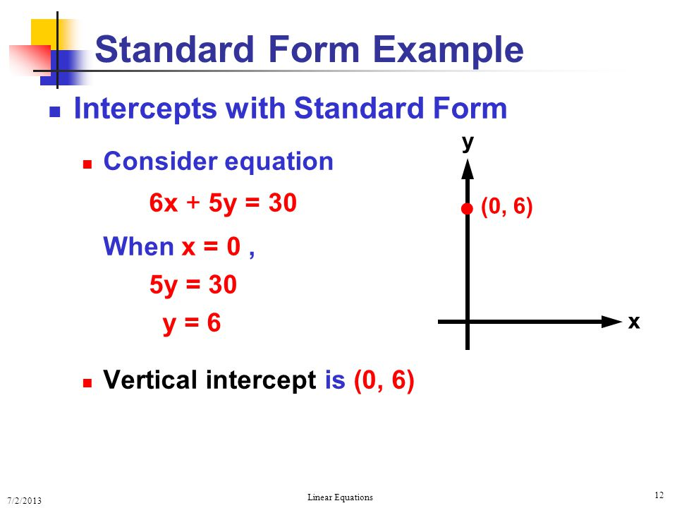 Standard Form Example  Intercepts with Standard Form
