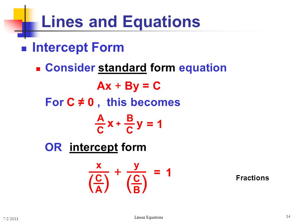 ( ) Lines and Equations Intercept Form +