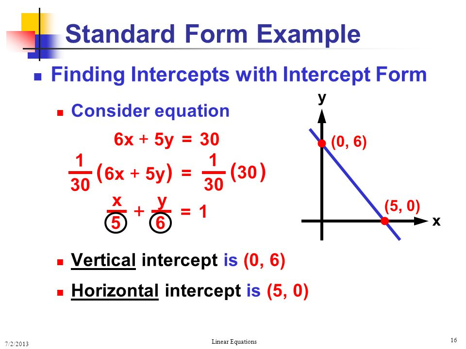 Standard Form Example   Finding Intercepts with Intercept Form ( )