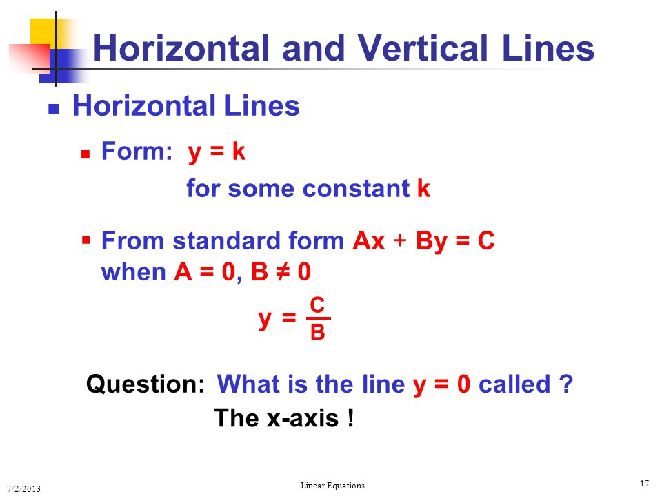 Equations of Lines Equations of Lines - ppt download Horizontal Line Equation