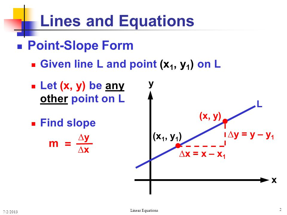 Lines and Equations   Point-Slope Form