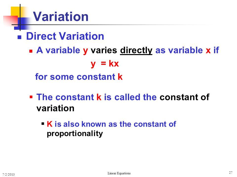 Variation Direct Variation