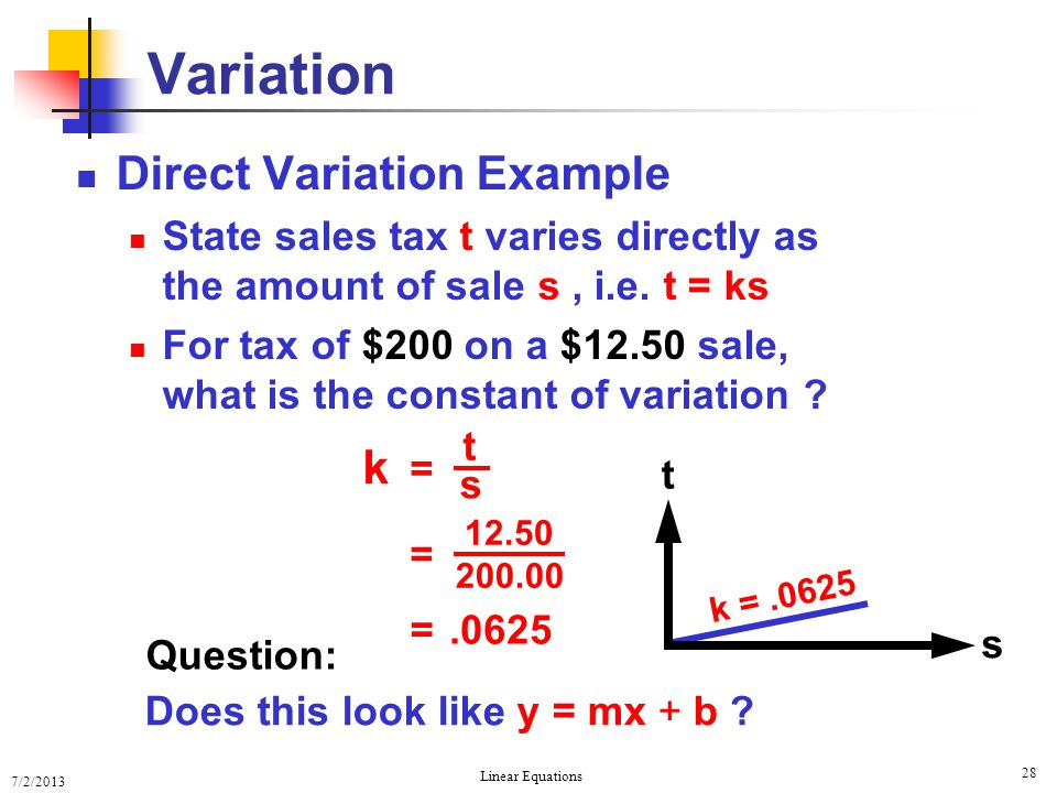 Variation Direct Variation Example k