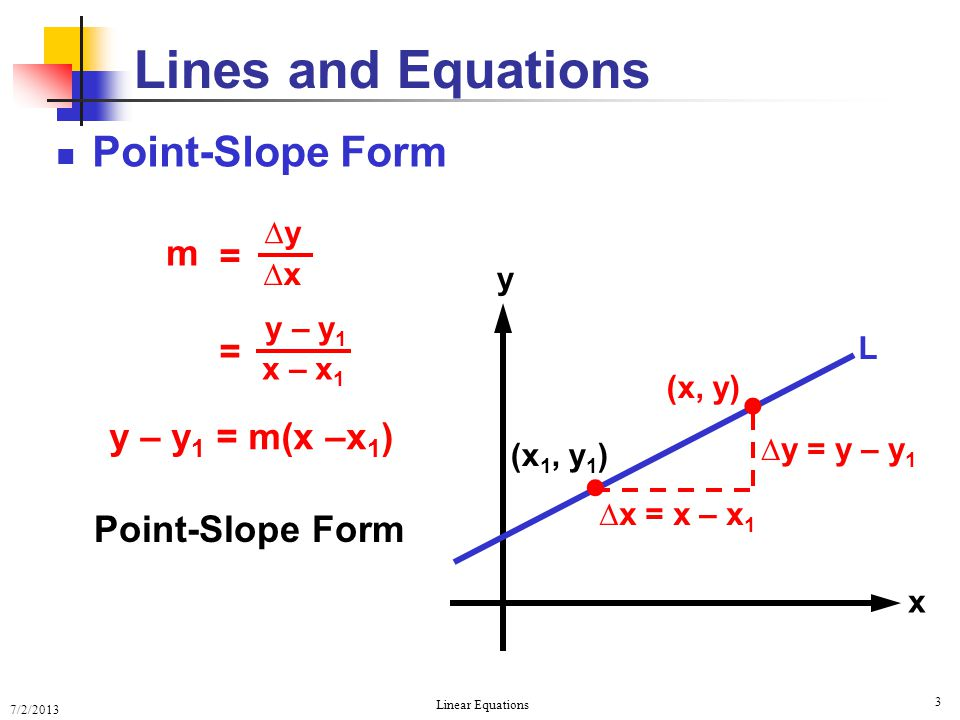 Lines and Equations   Point-Slope Form m = = y – y1 = m(x –x1)