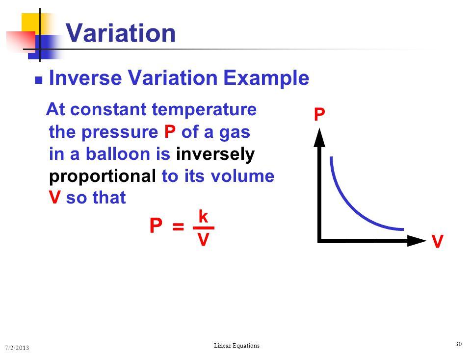 Variation Inverse Variation Example