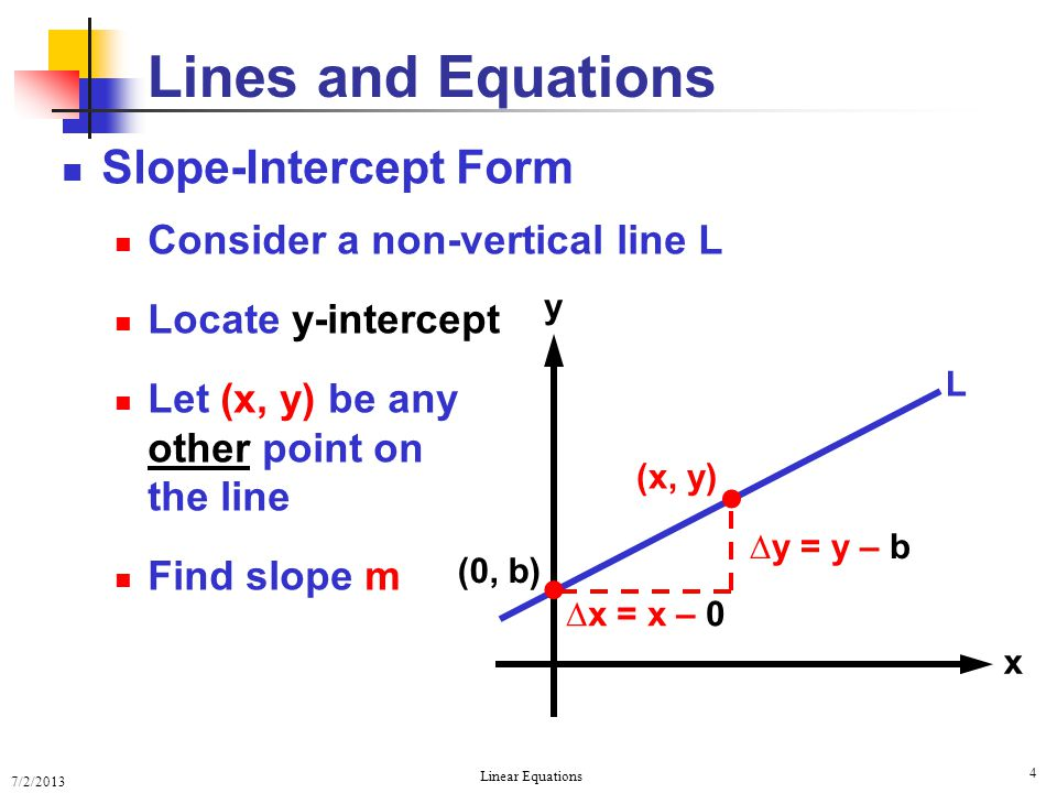 Lines and Equations   Slope-Intercept Form