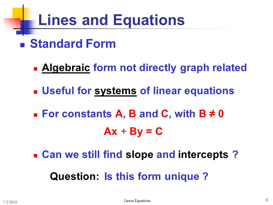 Lines and Equations Standard Form