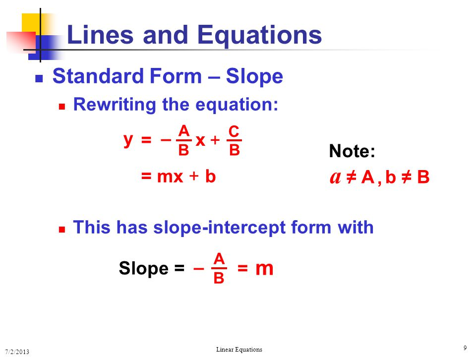 Lines and Equations a ≠ A Standard Form – Slope m