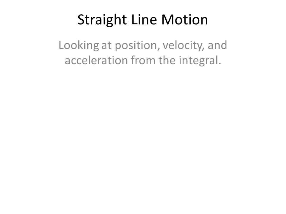 Looking at position, velocity, and acceleration from the integral.