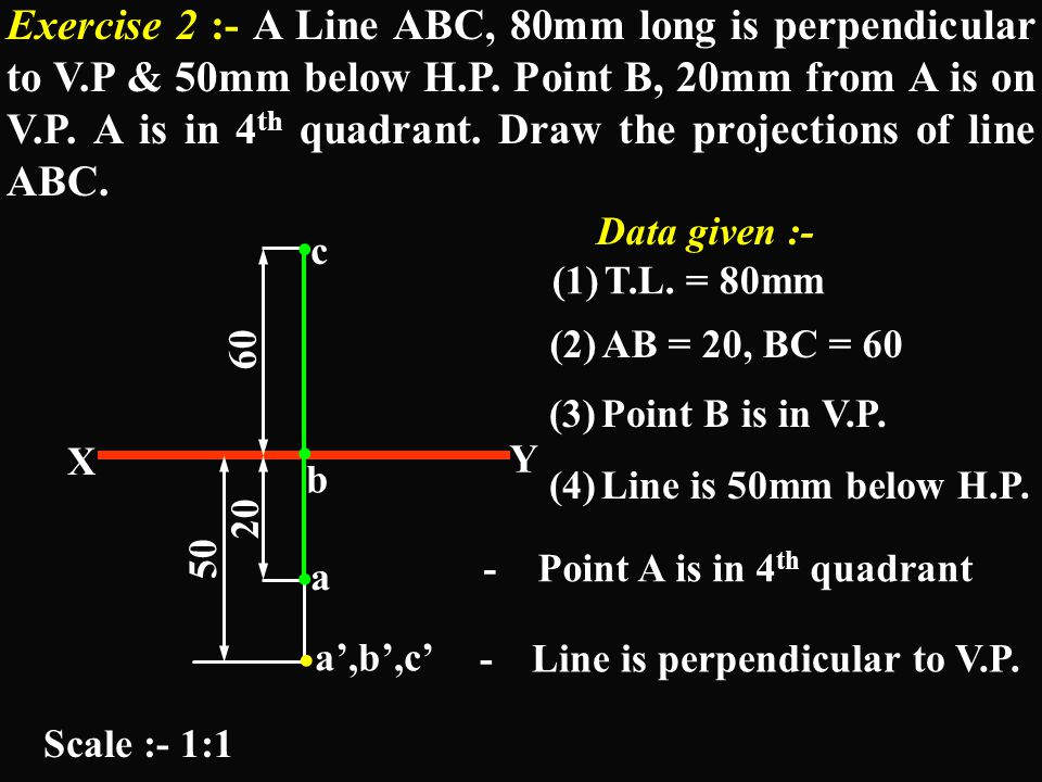 Exercise 2 :- A Line ABC, 80mm long is perpendicular to V