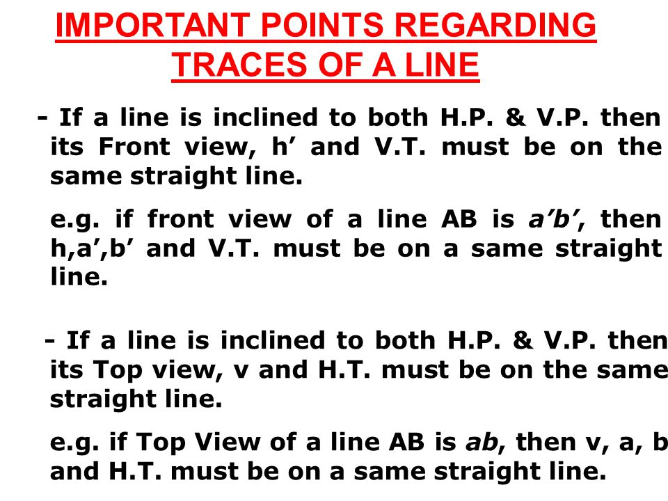 IMPORTANT POINTS REGARDING TRACES OF A LINE