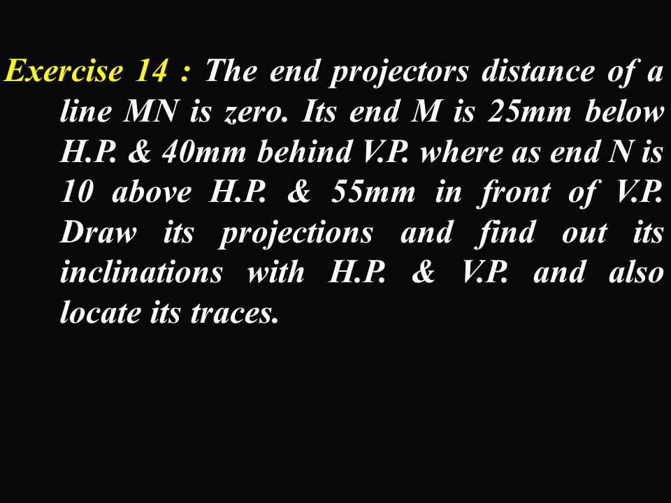 Exercise 14 : The end projectors distance of a line MN is zero