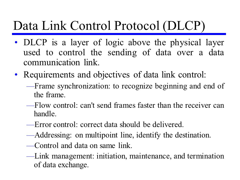 Data Link Control Protocol (DLCP)