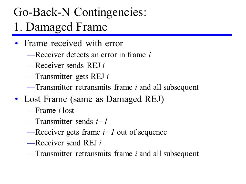 Go-Back-N Contingencies: 1. Damaged Frame