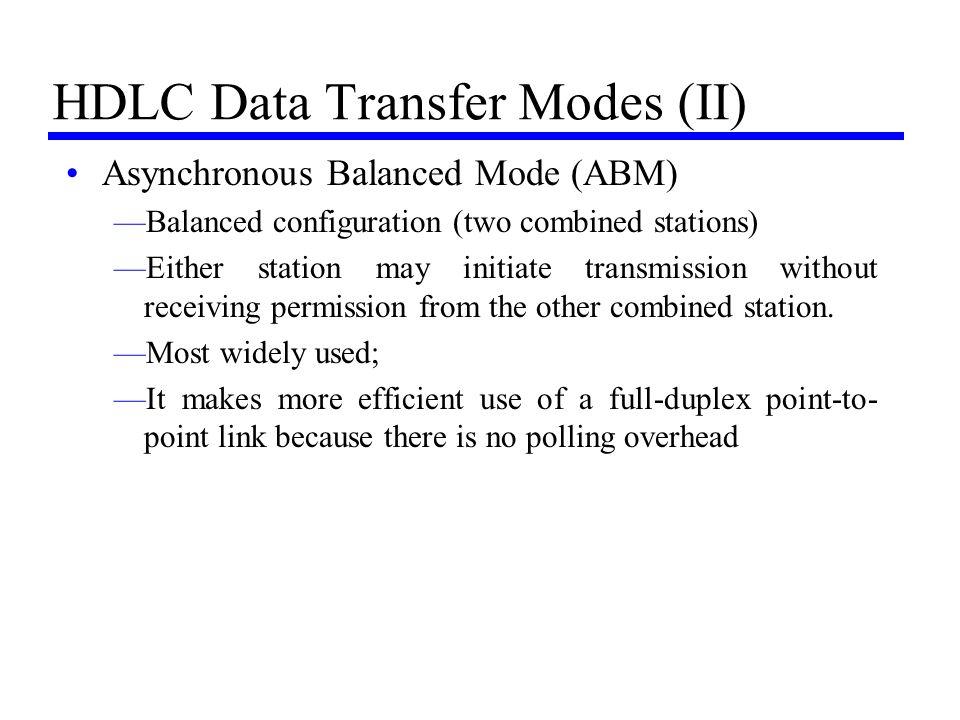 HDLC Data Transfer Modes (II)