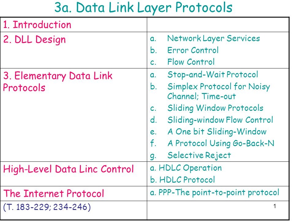 3a. Data Link Layer Protocols