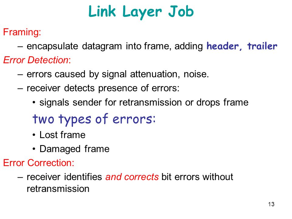 Link Layer Job two types of errors: Framing: