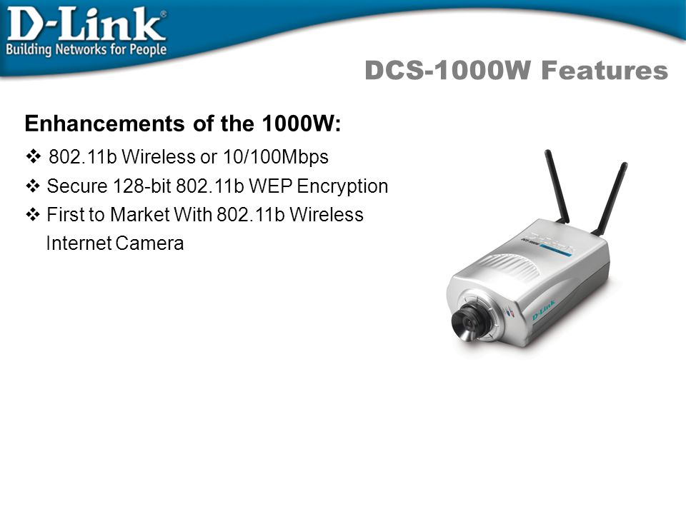 DCS-1000W Features Enhancements of the 1000W: