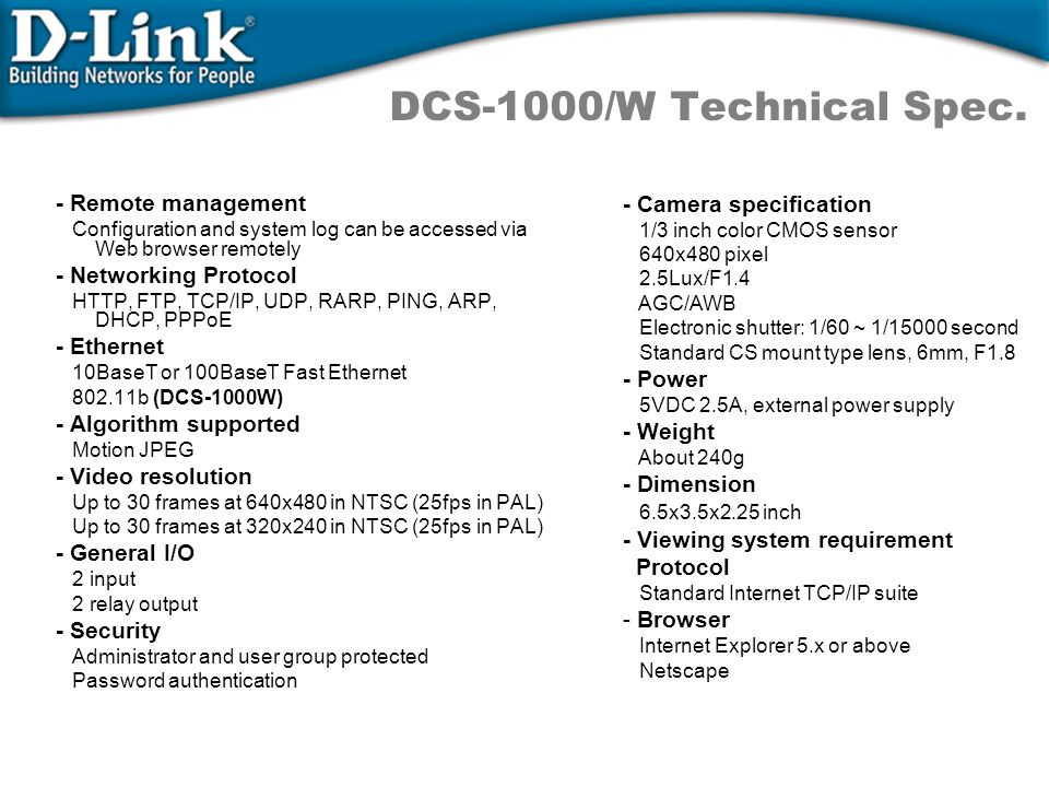 DCS-1000/W Technical Spec. - Remote management - Camera specification