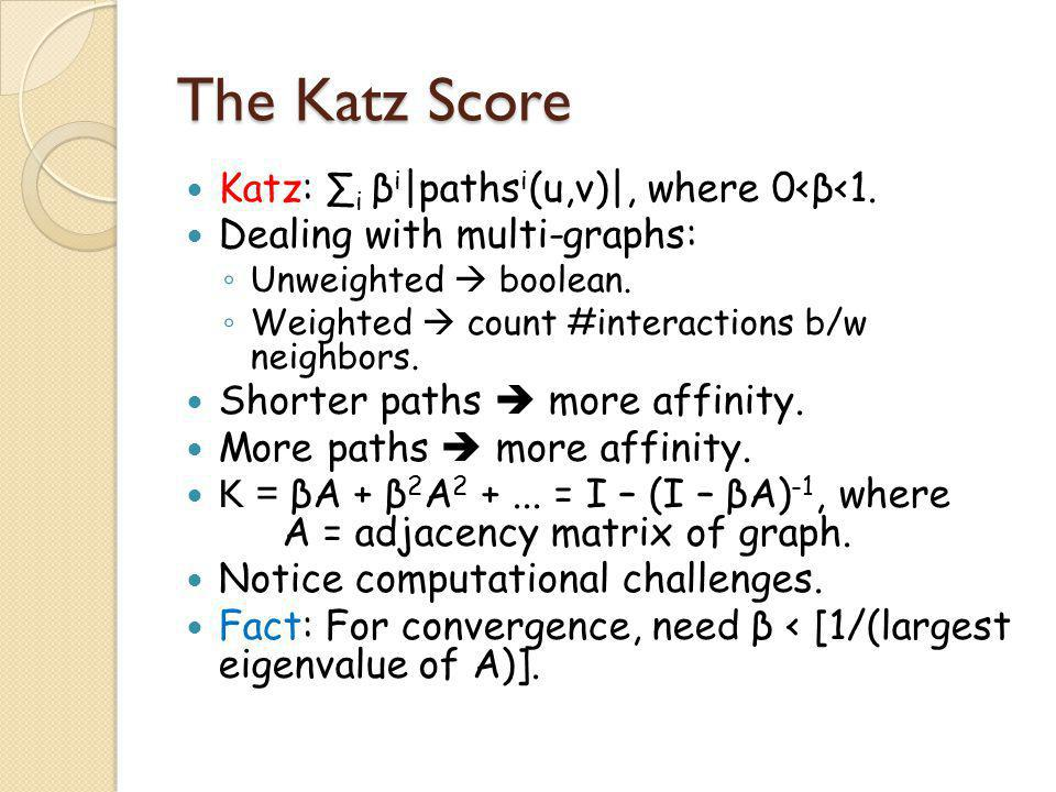 The Katz Score Katz: ∑i βi|pathsi(u,v)|, where 0<β<1.