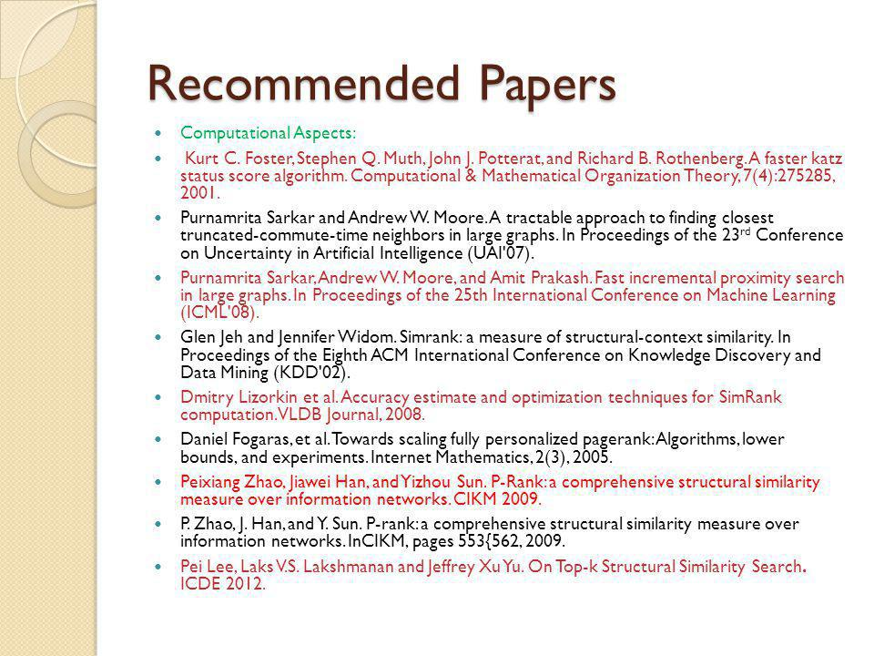 Recommended Papers Computational Aspects: