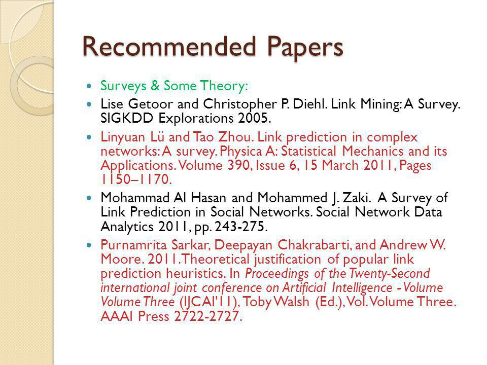 Recommended Papers Surveys & Some Theory: