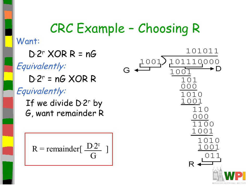 CRC Example – Choosing R