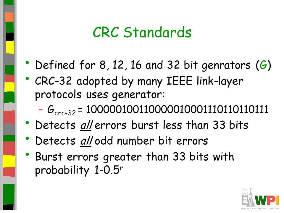 CRC Standards Defined for 8, 12, 16 and 32 bit genrators (G)