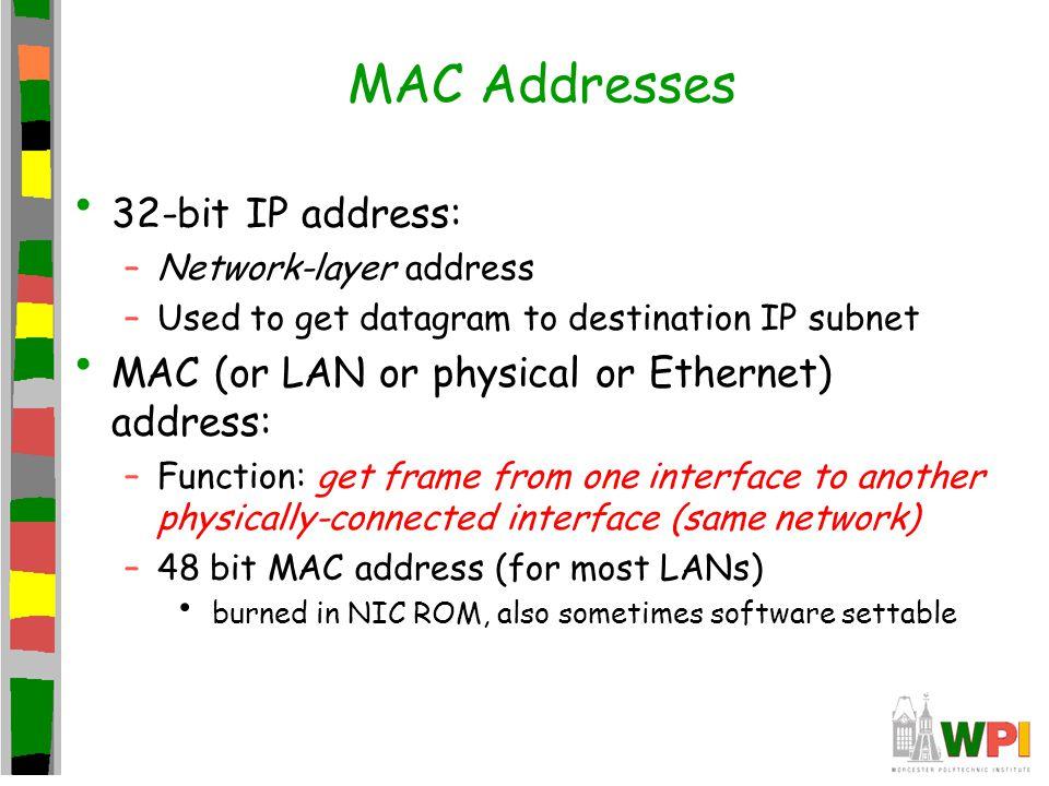 MAC Addresses 32-bit IP address: