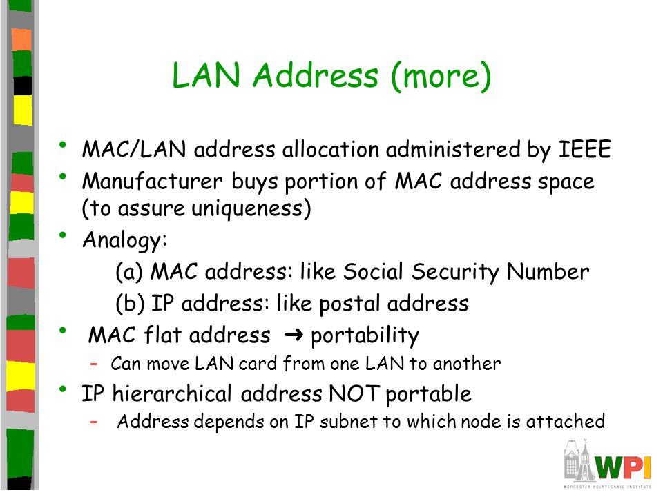 LAN Address (more) MAC/LAN address allocation administered by IEEE