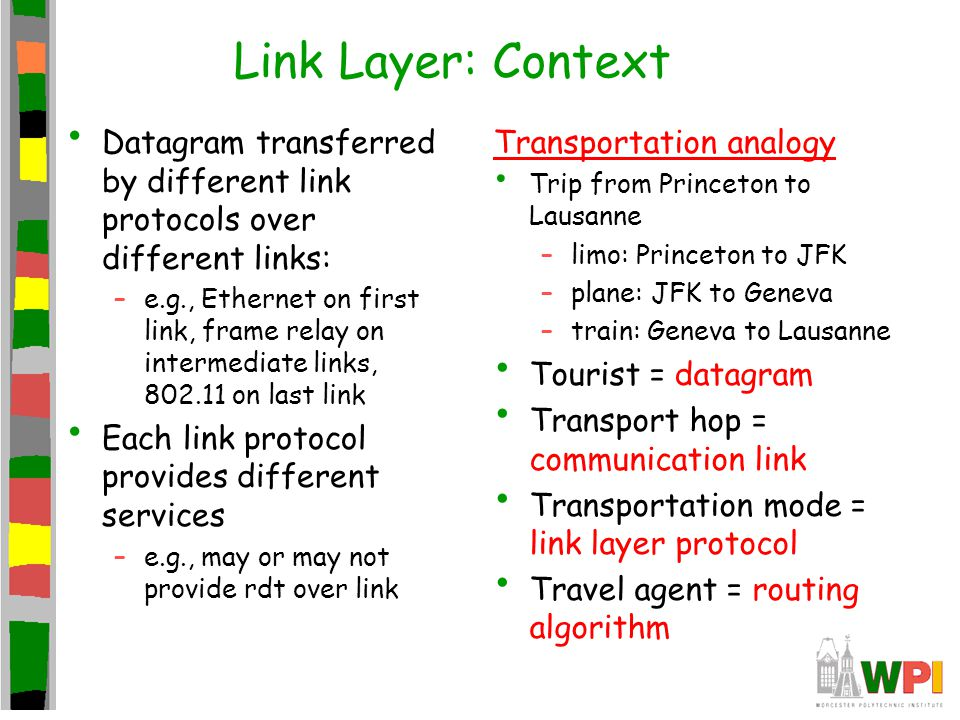 Link Layer: Context Datagram transferred by different link protocols over different links: