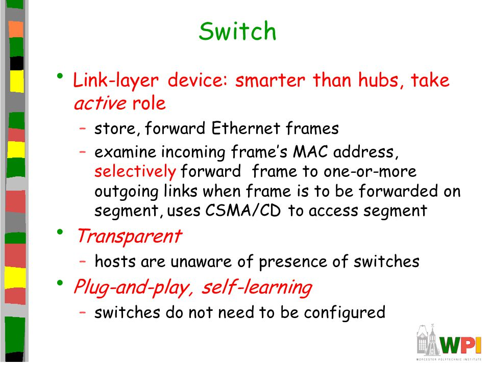 Switch Link-layer device: smarter than hubs, take active role