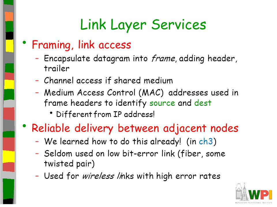 Link Layer Services Framing, link access