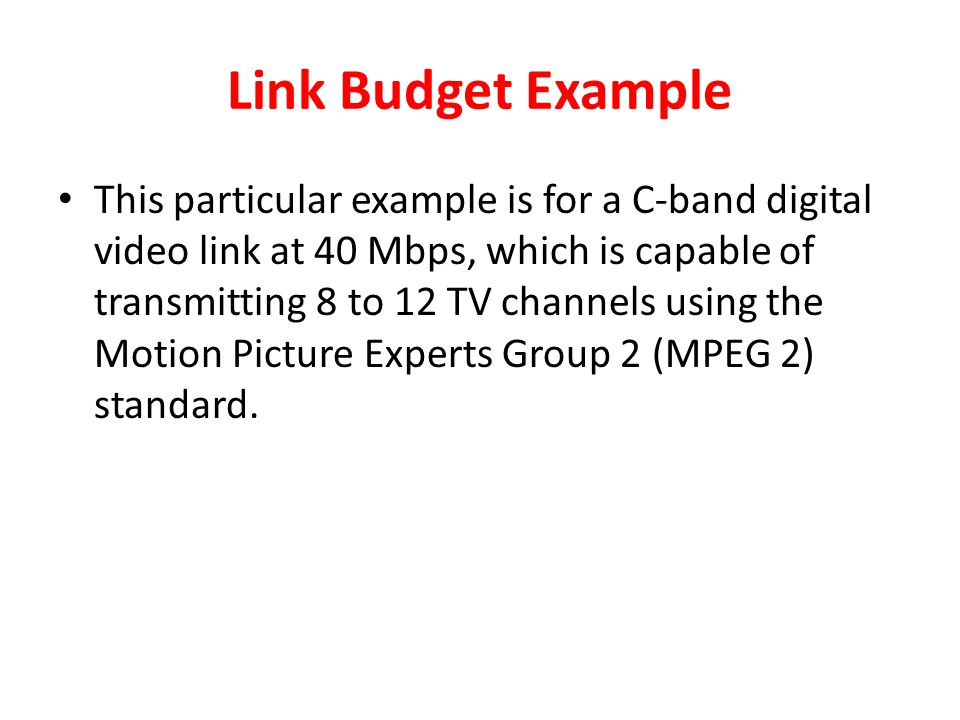 Link Budget Example