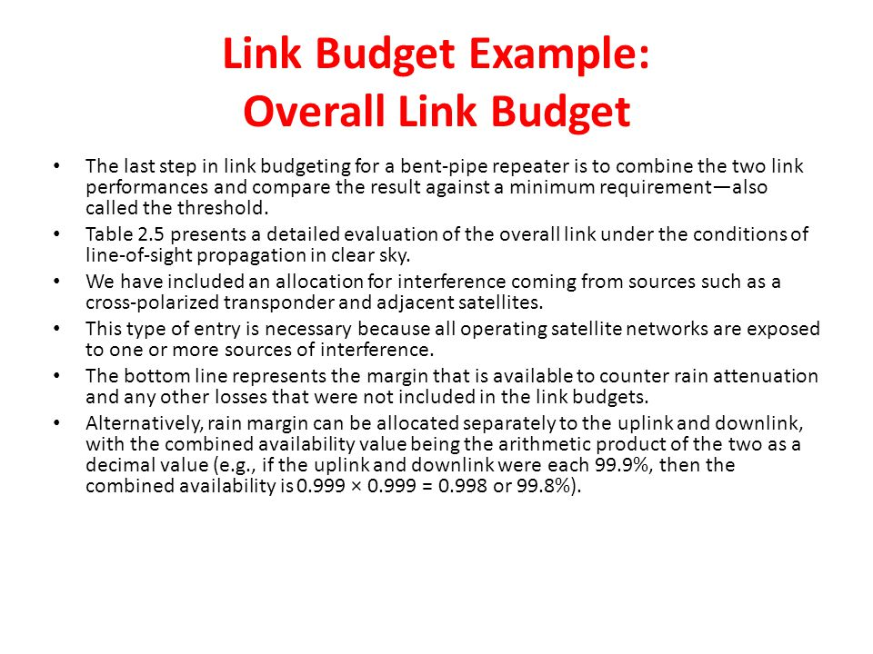 Link Budget Example: Overall Link Budget