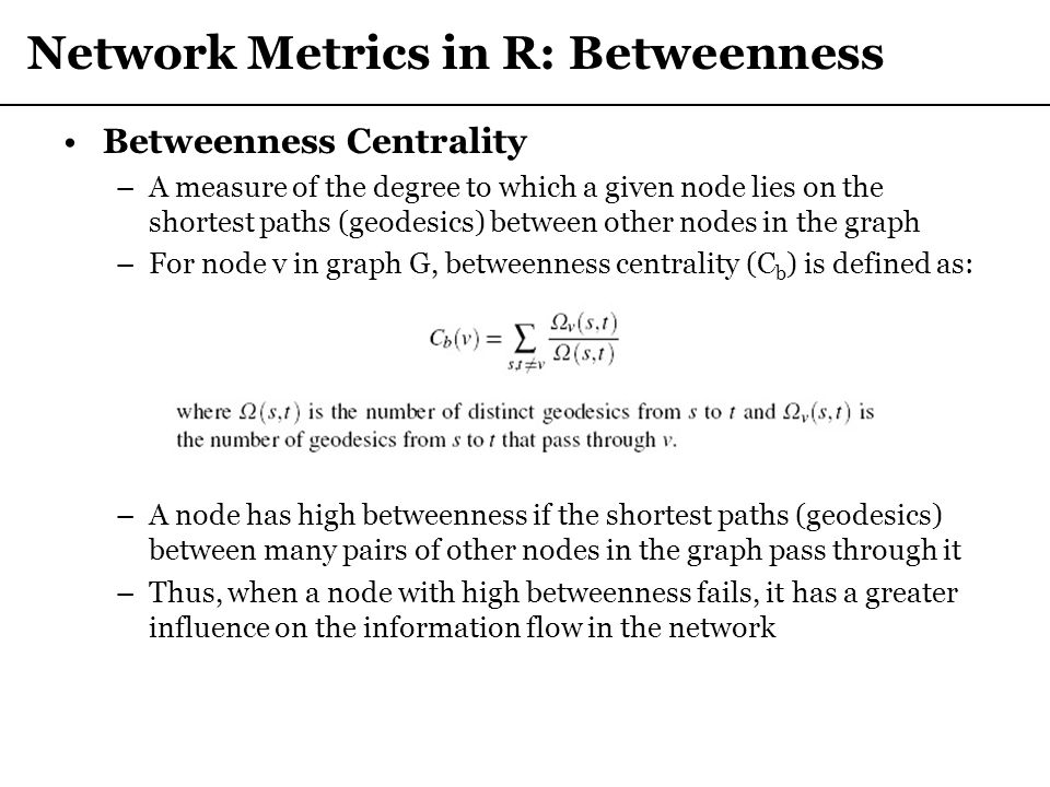 Network Metrics in R: Betweenness