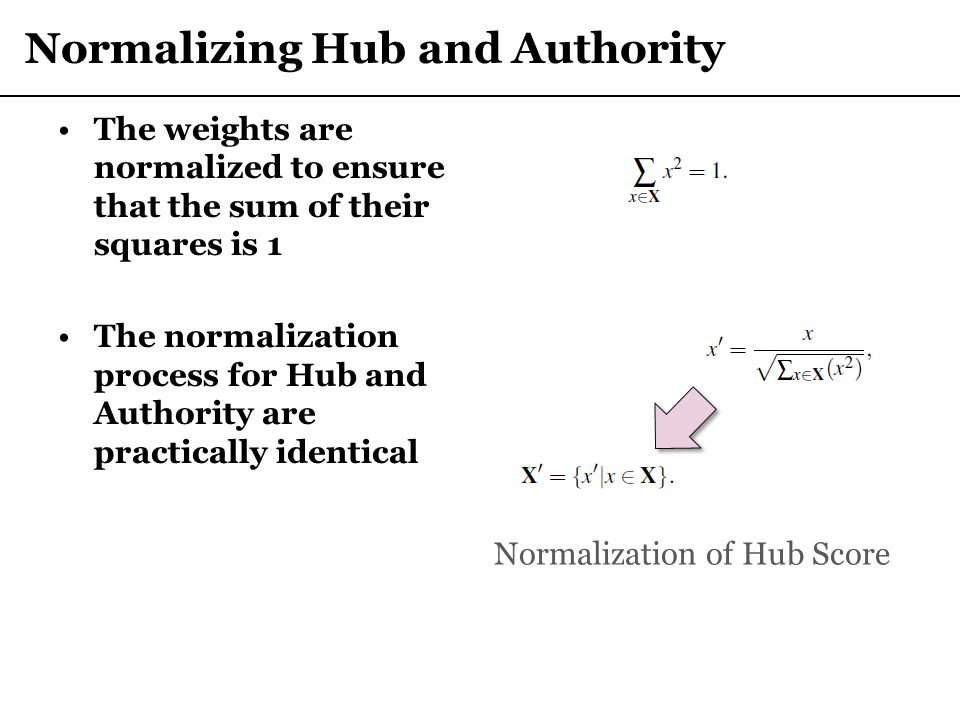 Normalizing Hub and Authority