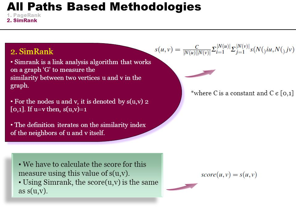 All Paths Based Methodologies 1. PageRank 2. SimRank