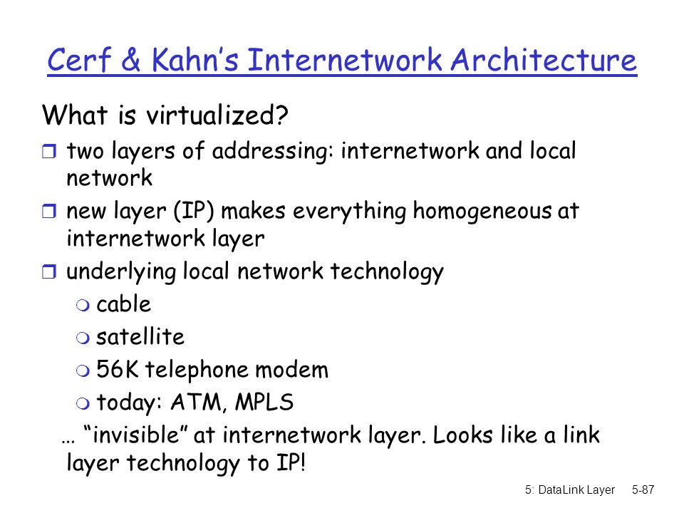 Cerf & Kahn's Internetwork Architecture