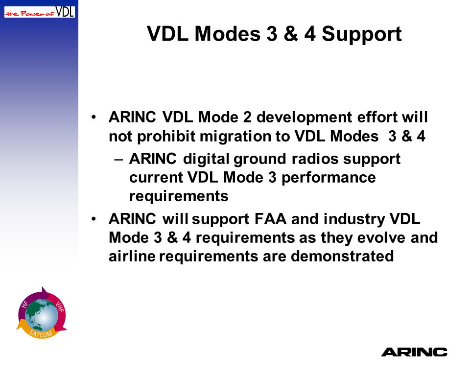 VDL Modes 3 & 4 Support ARINC VDL Mode 2 development effort will not prohibit migration to VDL Modes 3 & 4.